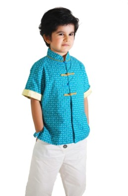 Boys Mandarin collar Shirt Kungfu Blue