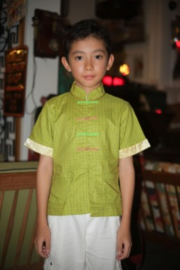 Boy Mandarin Collar Shirt Kungfu Green