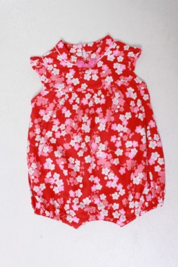 romper baby floral red
